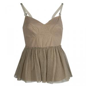Philosophy Di Alberta Ferretti Beige Tulle Trim Sleeveless Top M