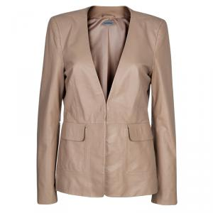 Philosophy Beige Leather Blazer M