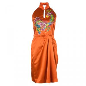 Philosophy Di Alberta Ferretti Orange Silk Oriental Print Halter Dress S