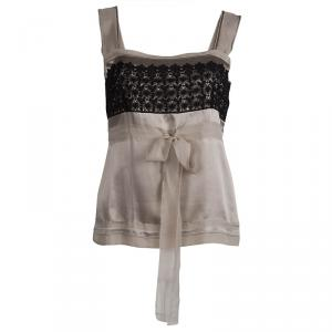 Philosophy Di Alberta Ferretti Beige Silk Lace Detail Sleeveless Top S