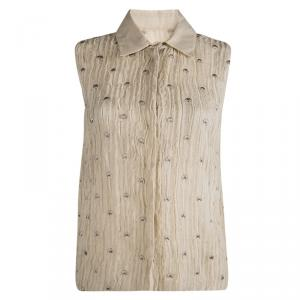 Philosophy Di Alberta Feretti Beige Embroidery Detail Sleeveless Sheer Top M