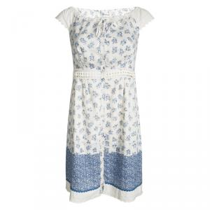 Philosophy di Alberta Ferretti Off White Floral Printed Cut Out Lace Detail Dress S