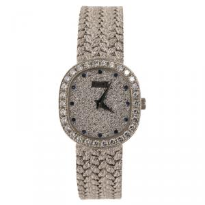 Piaget Diamond Sapphire Studded 18K White Gold Mesh Bracelet Vintage Women's Wristwatch 22MM