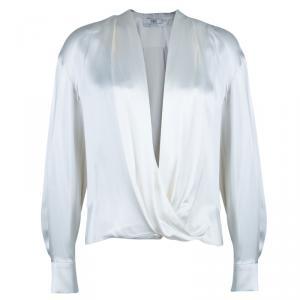 Prabal Gurung White Satin Long Sleeve Wrap Top M