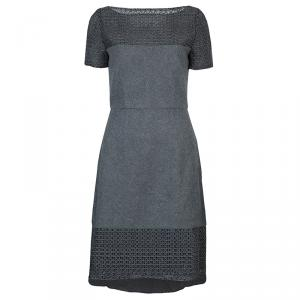 Prabal Gurung Grey Embroidered Mesh Insert Wool Dress S