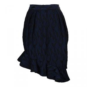 Prabal Gurung Navy Blue Textured Ruffle Bottom Asymmetric Skirt S