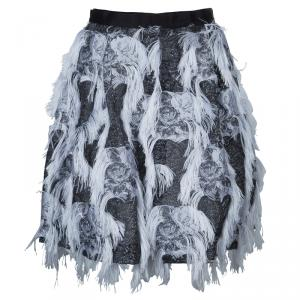 Prabal Gurung Grey Fringe Detail Skirt M
