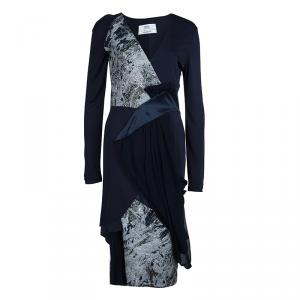 Prabal Gurung Navy Blue Brocade Detail Dress M