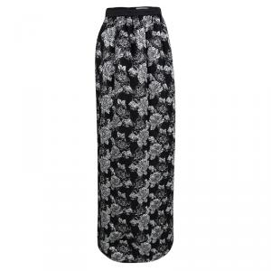 Prabal Gurung Black Metallic Floral Textured Maxi Skirt M