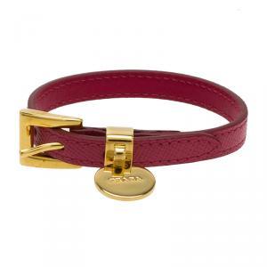 Prada Buckle Closure Saffiano Leather Bracelet