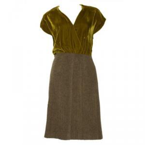Prada Olive Green Velvet Wool Dress XS
