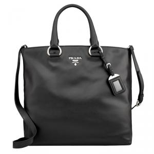 Prada Black Soft Calf Leather Large Shopping Tote