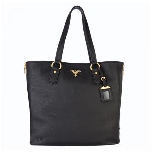 Prada Black Vitello Daino Leather Shopping Tote