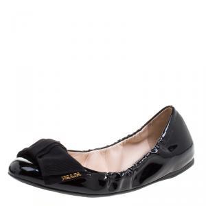 Prada Black Patent Scrunch Bow Ballet Flats Size 38