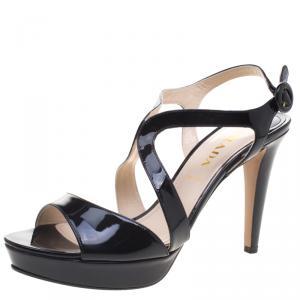 Prada Black Patent Leather Cross Strap Platform Sandals Size 39.5