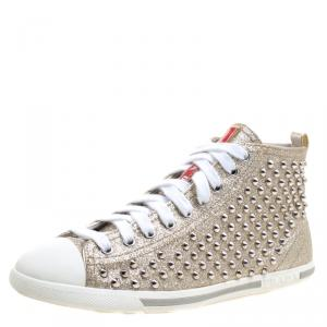 Prada Sport Gold Studded Glitter and Leather High Top Sneakers Size 38.5