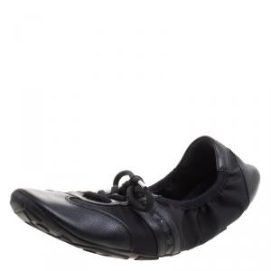 Prada Sport Black Leather And Fabric Scrunch Lace Up Sneakers Size 38.5
