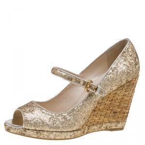 Prada Sport Gold Glitter Mary Jane Wedge Pumps Size 36