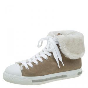 Prada Sport Beige Suede and Faux Fur High Top Sneakers Size 39