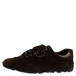 Prada Sport Brown Suede Lace Up Sneakers Size 39.5