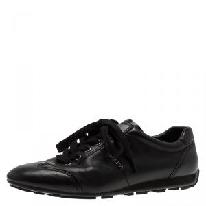 Prada Sport Black Leather Lace Up Sneakers Size 40