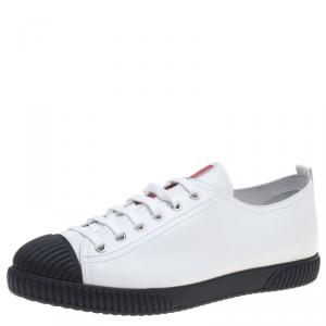 Prada Sport White Leather Cap Toe Lace Up Sneakers Size 41