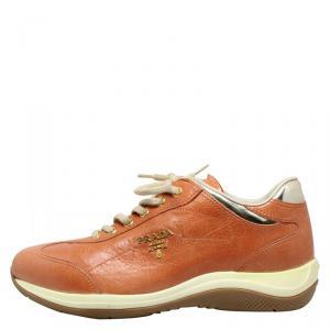 Prada Sport Tan Leather Sneakers Size 36