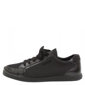 Prada Sport Black Saffiano Leather and Nylon Sneakers Size 37.5