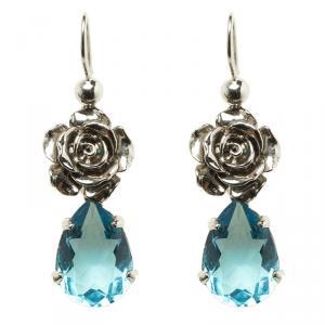 Prada Rose Blue Crystal Silver Tone Fish Hook Dangle Earrings