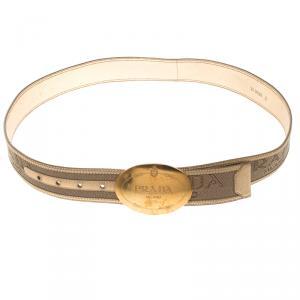 Prada Gold Canvas and Leather Cinture Buckle Belt 95 CM