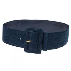 Prada Blue Denim Wide Belt 75 CM