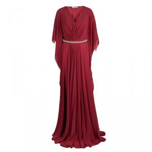 Prada Red Silk Embellished Belt Detail Kaftan Style Gown M
