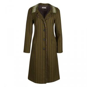Prada Green Checked Wool Stone Embellished Overcoat S