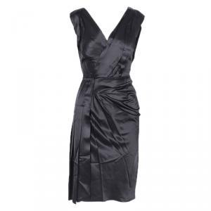 Prada Black Pleated Detail Sleeveless Cocktail Dress S