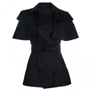 Prada Black Cape Sleeve Trench Style Belted Jacket S