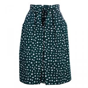 Prada Green Printed Silk Dirndl Skirt S