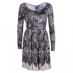 Prada Black and Pink Floral Print Jersey Long Sleeve Dress S