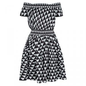 Prada Brown and White Geometric Print Off Shoulder Cotton Dress L