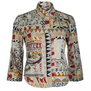 Prada Multicolor Printed Long Sleeve Buttondown Cotton Shirt M