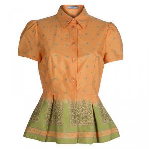 Prada Orange Floral Printed Box Pleat Detail Short Sleeve Shirt M