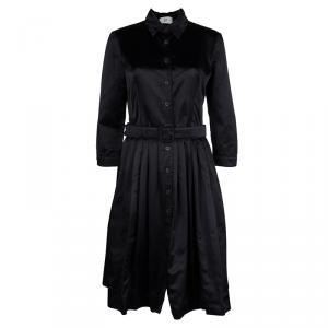 Prada Black Silk Pleated Button Down Belted Dress M