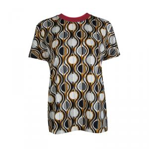 Prada Multicolor Printed Jersey Contrast Rib Trim Detail T-Shirt M