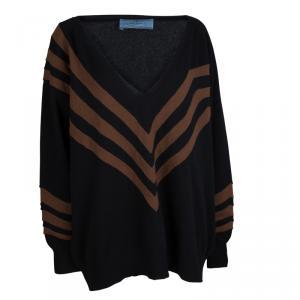 Prada Black Wool Striped V-Neck Oversized Sweater S
