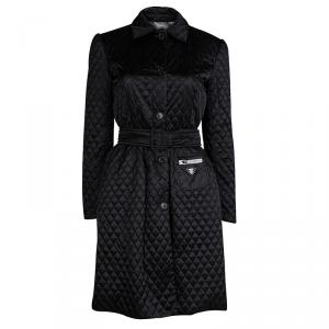 Prada Black Quilted Nylon Belted Trench Coat S