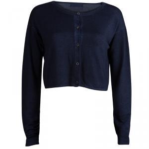 Prada Dark Blue Knit Long Sleeve Cropped Cardigan M