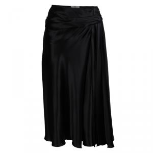 Prada Black Semi Pleated A-Line Skirt M