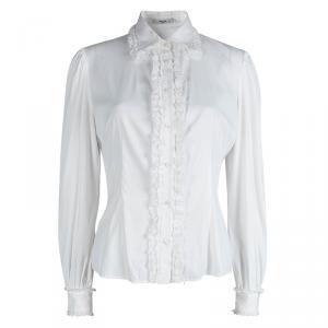 Prada White Lace Ruffle Detail Long Sleeve Button Front Shirt M