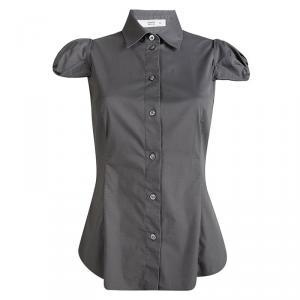 Prada Dark Grey Cap Sleeve Button Front Shirt M
