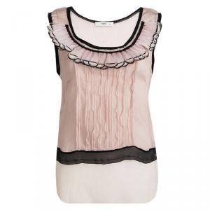 Prada Pink Crinkled Silk Feather Embellished Sleeveless Top L