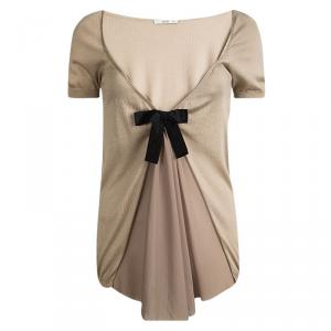 Prada Beige Silk Knit Pleated Front Bow Detail Top M